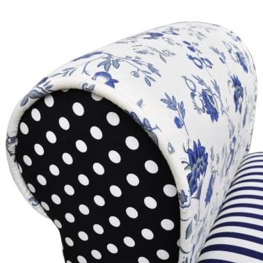 vidaXL Patchworkowa ławka w rustykalnym stylu, niebiesko-biała[4/6]