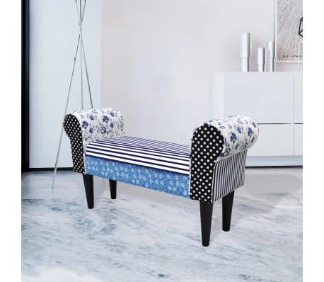 vidaXL Patchworkowa ławka w rustykalnym stylu, niebiesko-biała[1/6]