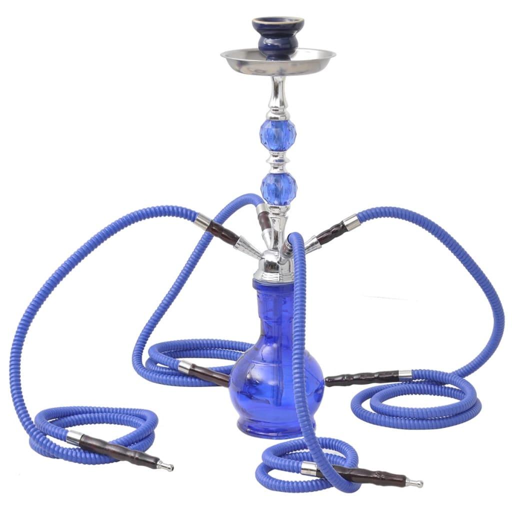 Pipă cu apă/narghilea/shisha cu 4 furtunuri, albastru poza vidaxl.ro