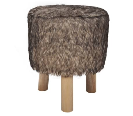 Plush Round Footrest with 3 Wooden Feet Brown