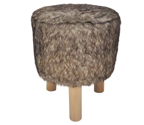 Plush Round Footrest with 3 Wooden Feet Brown[2/4]