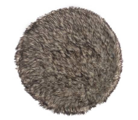 Plush Round Footrest with 3 Wooden Feet Brown[3/4]