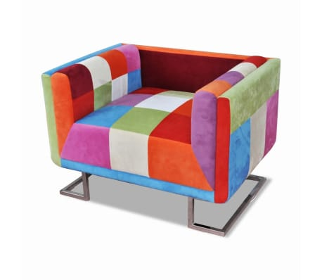 vidaXL Kockasta Fotelja s Kromiranim Nogama Patchwork Dizajn Tkanina[4/8]