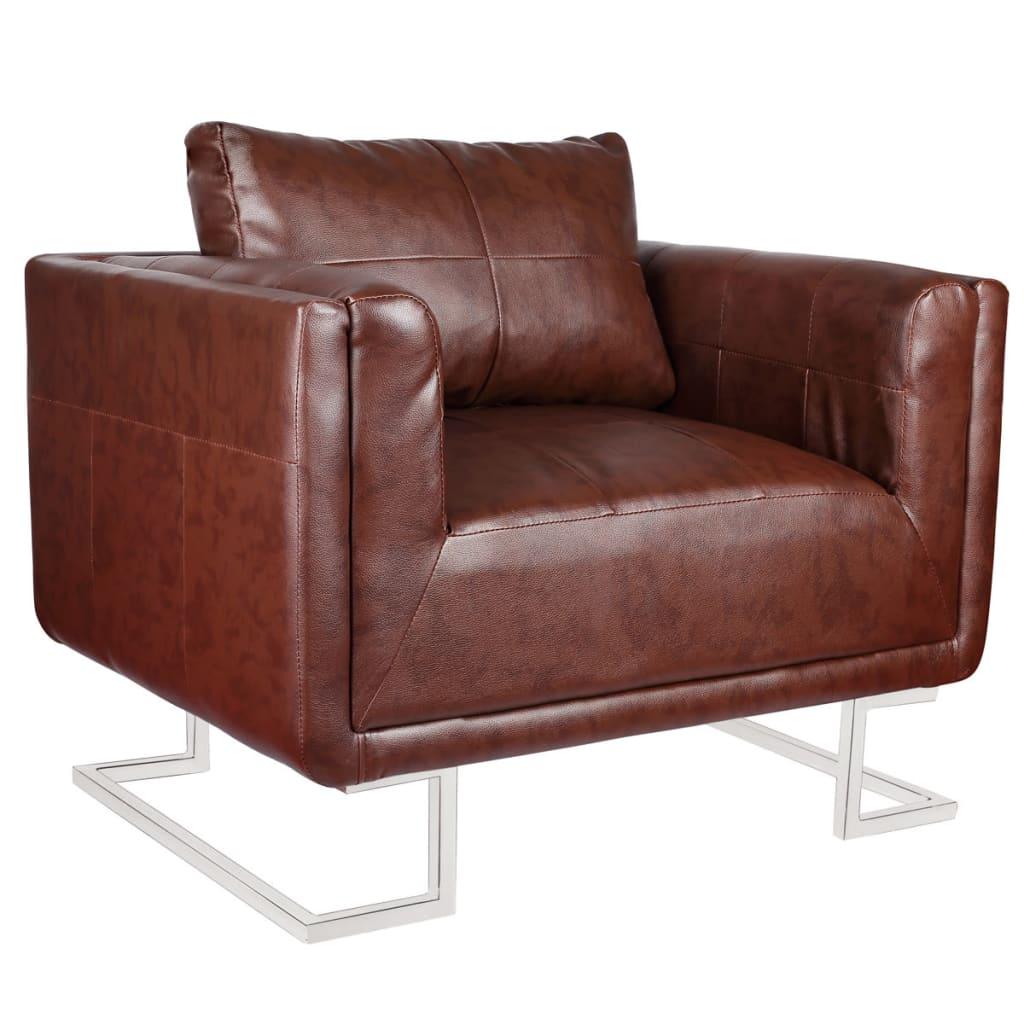 Kubus fauteuil met chromen voeten (bruin leer)