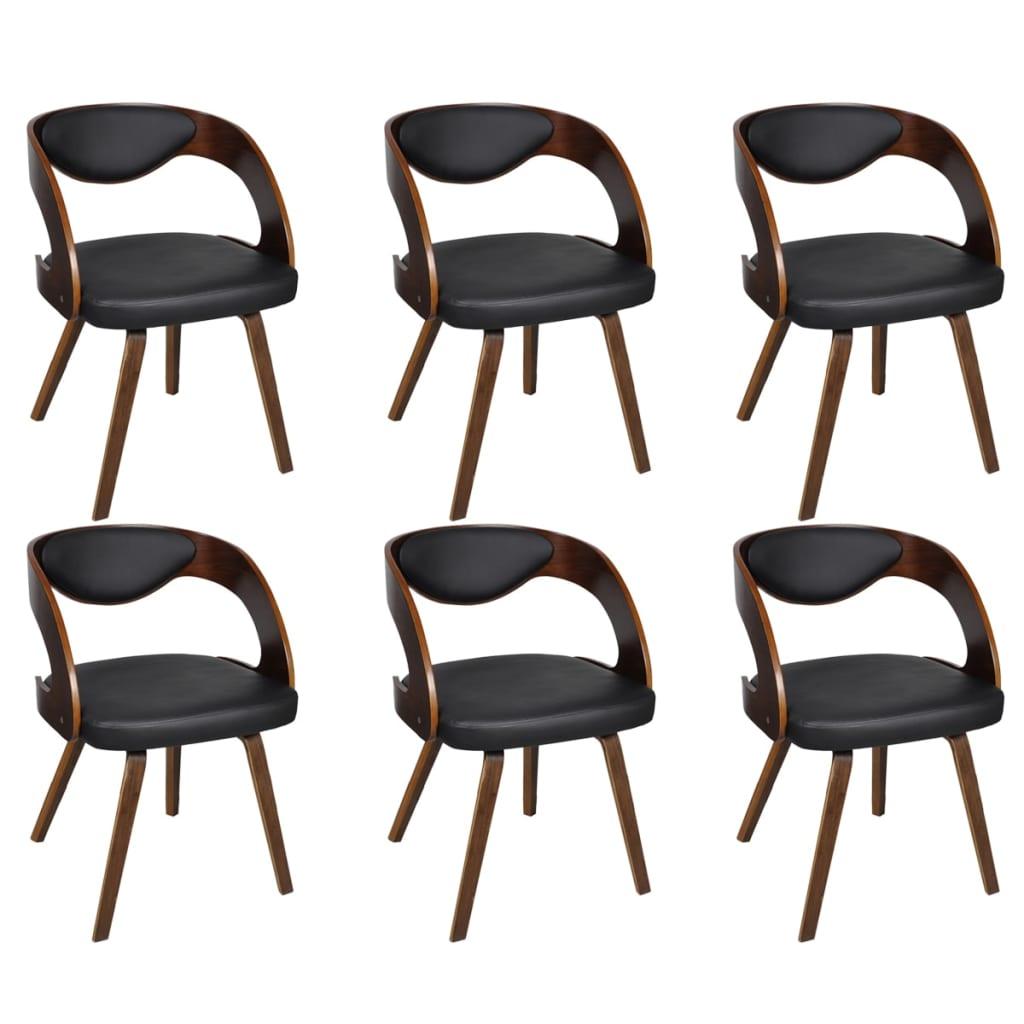 vidaXL Καρέκλες Τραπεζαρίας 6 τεμ. Καφέ Δερματίνη/Ξύλινος Σκελετός