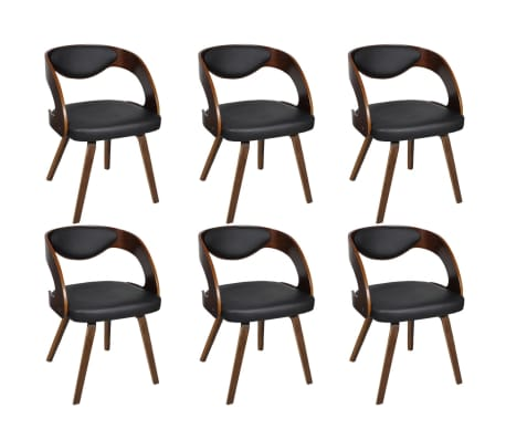 vidaXL Jídelní židle 6 ks hnědé umělá kůže