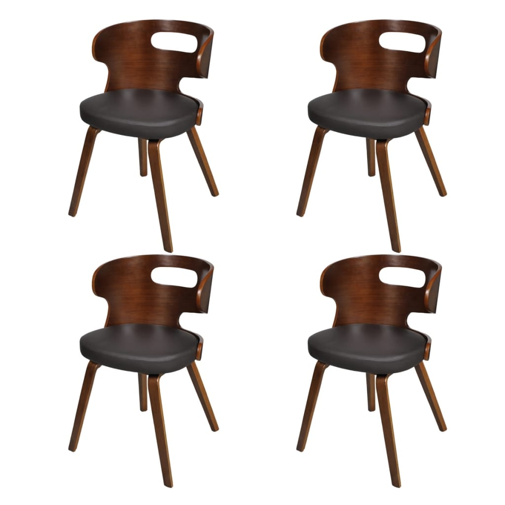 vidaXL Set of 4 Dining Chairs Wooden Frame Brown Cut Out Bent