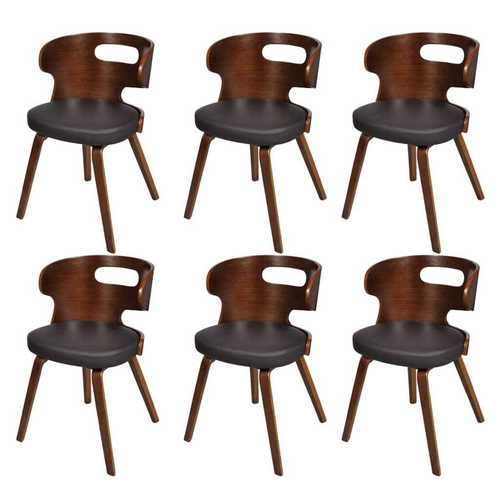 vidaXL Set of 6 Dining Chairs Wooden Frame Brown Cut Out Bent