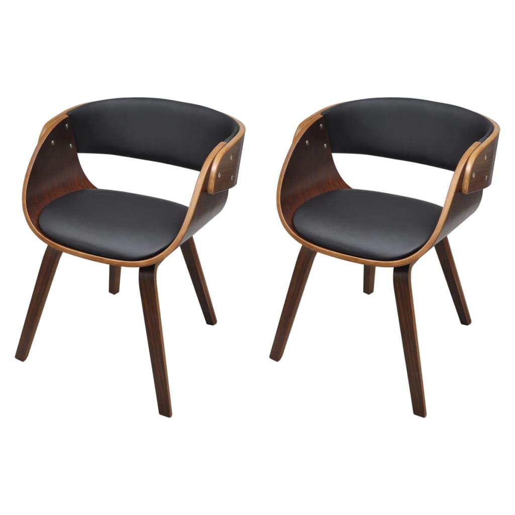 vidaXL Καρέκλες Τραπεζαρίας 2 τεμ. Καφέ Λυγισμένο Ξύλο/Συνθετικό Δέρμα