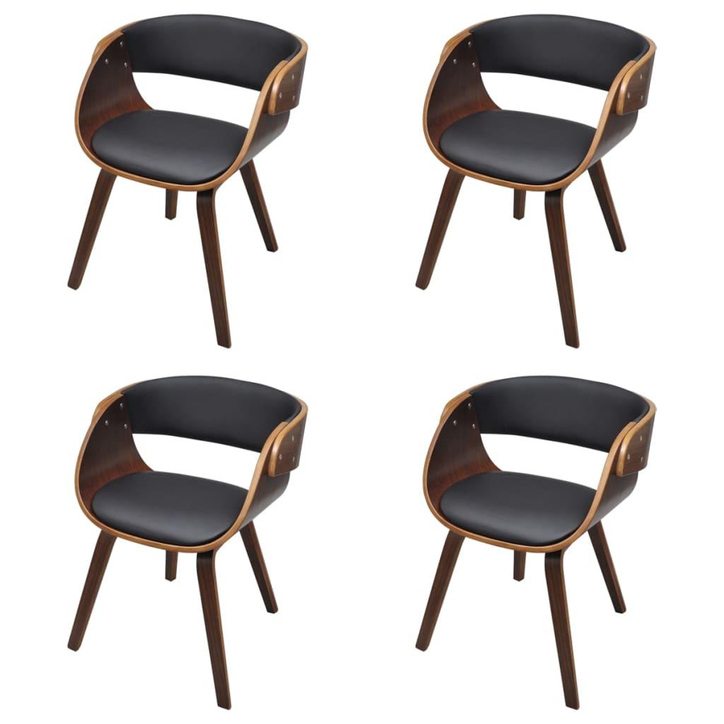 vidaXL Καρέκλες Τραπεζαρίας 4 τεμ. Καφέ Λυγισμένο Ξύλο/Συνθετικό Δέρμα