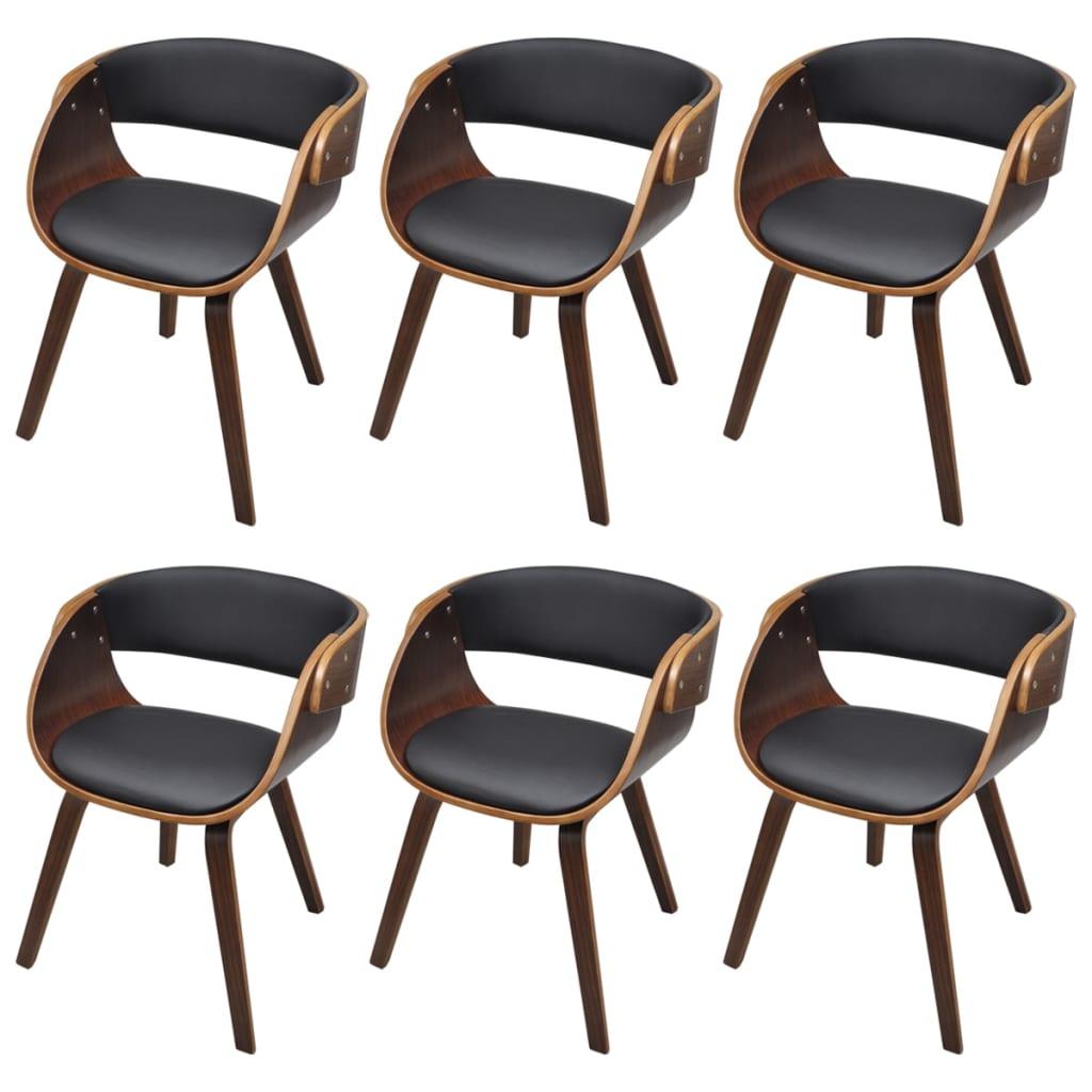 vidaXL Καρέκλες Τραπεζαρίας 6 τεμ. Καφέ από Συνθετικό Δέρμα