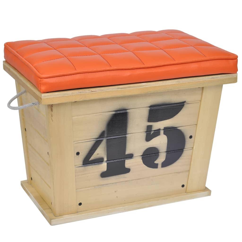 vidaXL Dřevěná podnožka s úložným prostorem hnědo-oranžová