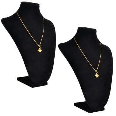 "Flannel Jewelry Holder Necklace Bust Black 9"" x 4.5"" x 11.8"" 2 pcs[1/5]"
