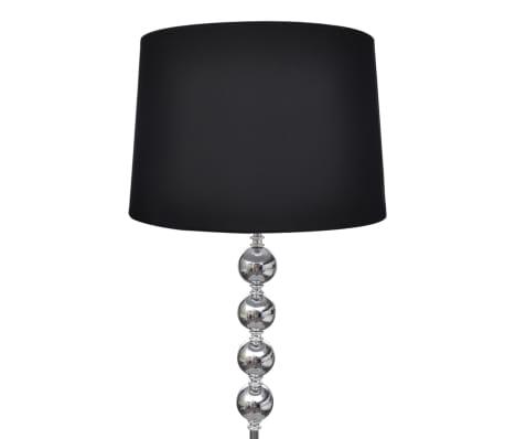 Standerlampe med skærm og dekoration af 4 stablede kugler sort[2/4]
