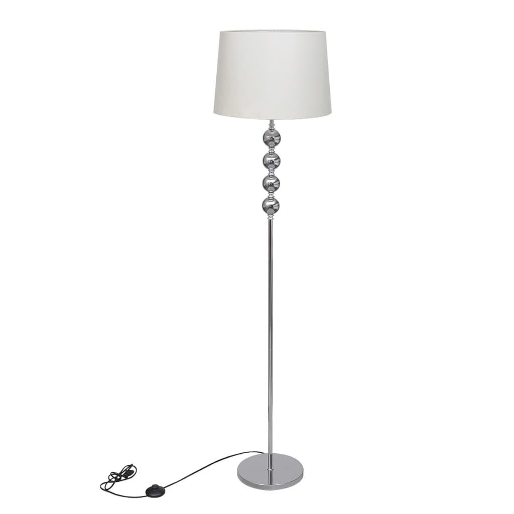 Stojací lampa s vysokým stojanem se 4 ozdobnými kuličkami, bílá