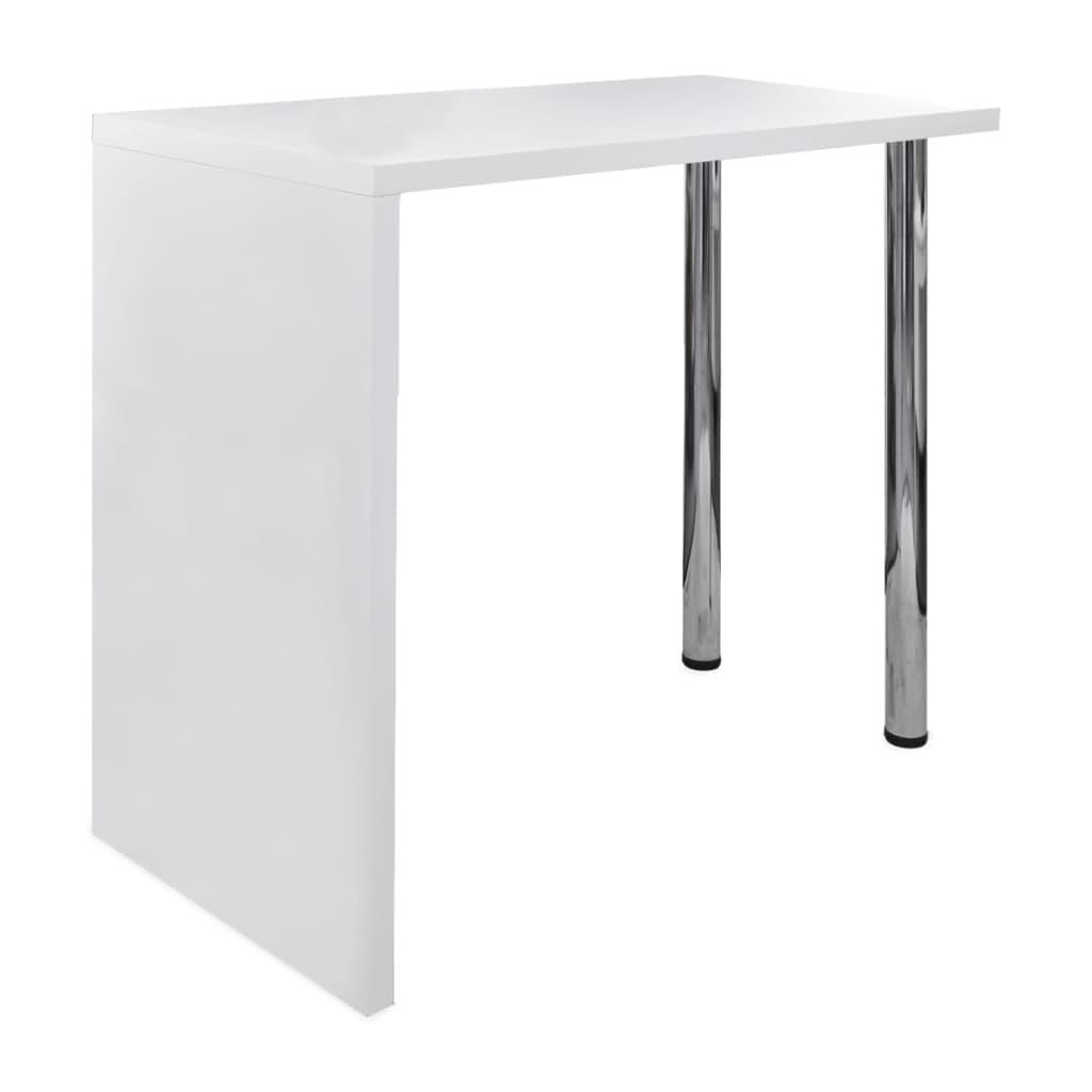 vidaXL Τραπέζι Μπαρ Γυαλιστερό Λευκό από MDF με 2 Ατσάλινα Πόδια