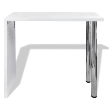 vidaXL Bar Table MDF with 2 Steel Legs High Gloss White[2/5]