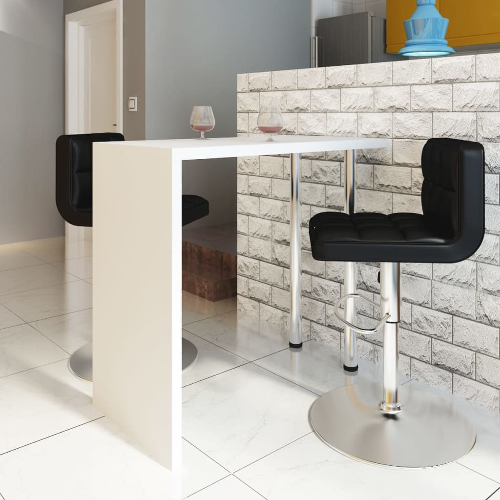 vidaXL High Gloss Bar Coffee Table Dining With 2 Legs White