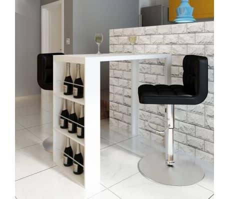 vidaXL fehér magasfényű MDF bárasztal bortartóval -picture