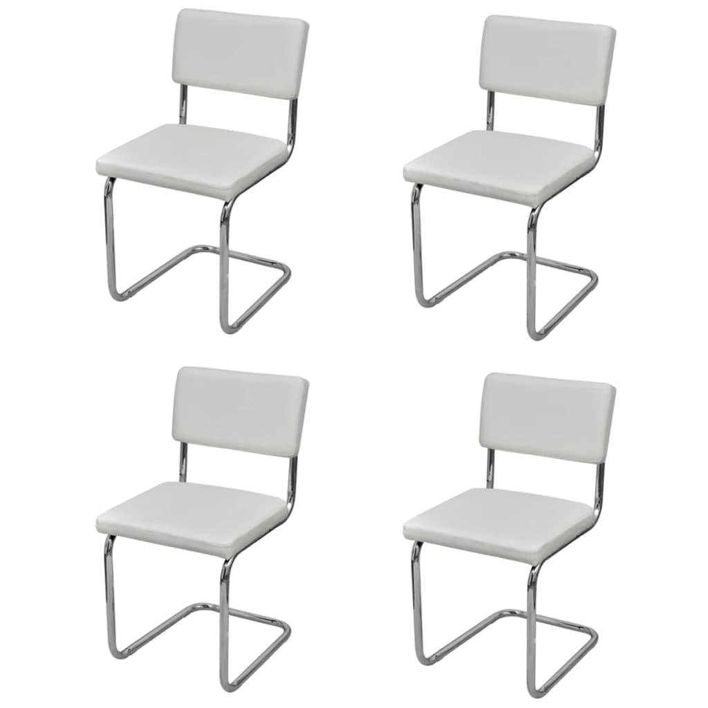 Jídelní židle, sada 4 ks, bílé, moderní design, imitace kůže