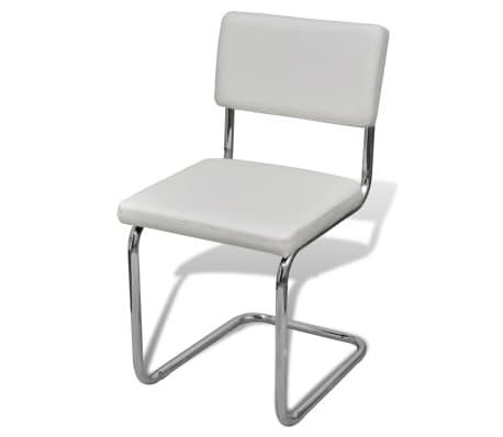 Set 4 pz sedia da pranzo bianca in ecopelle design moderno for Sedia design ecopelle bianca