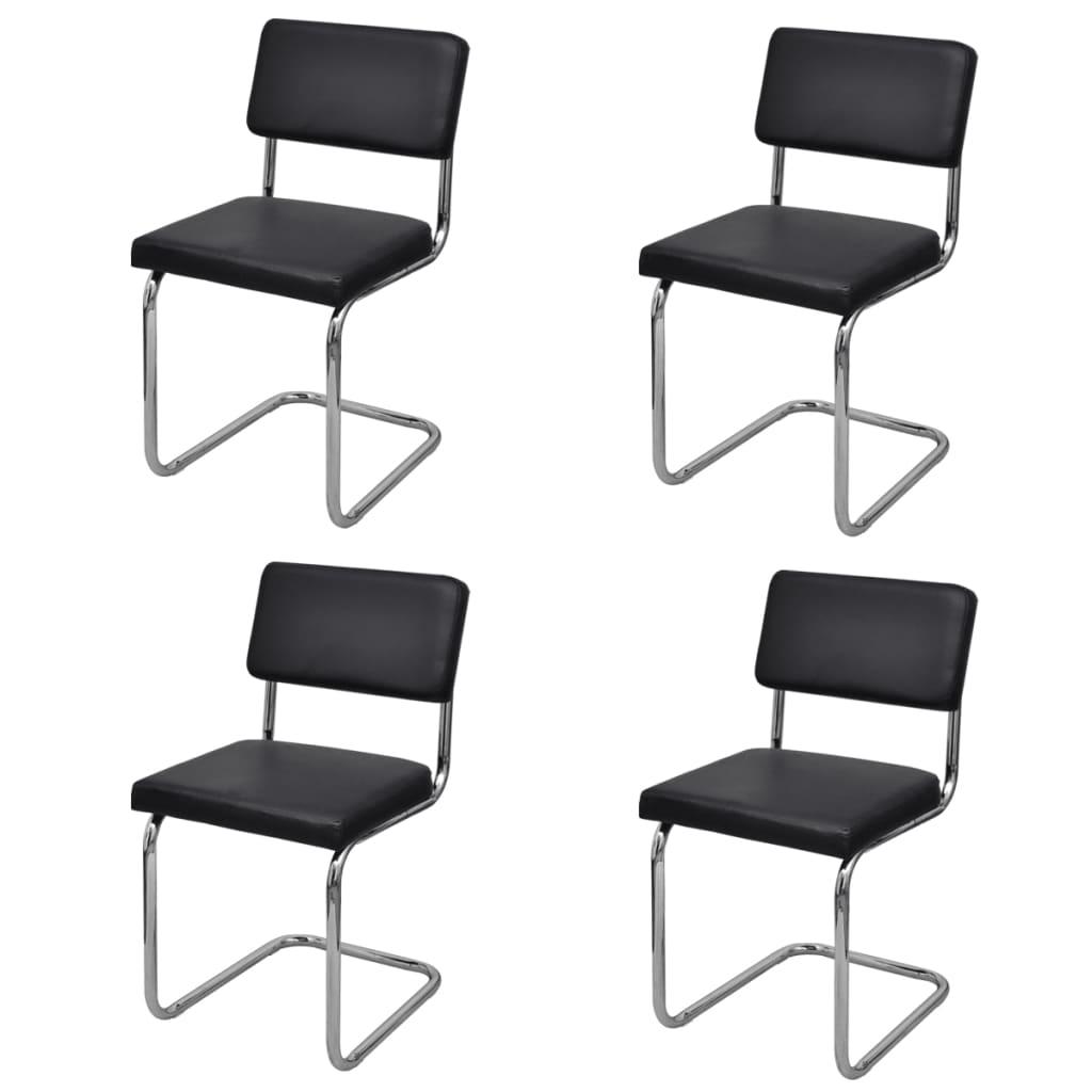 Jídelní židle, sada 4 ks, černé, moderní design, imitace kůže