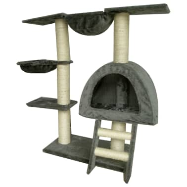 Cat Tree 105 cm Grey Plush with 2 Scratching Posts[2/3]
