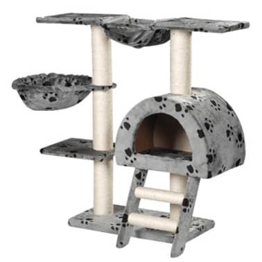 Cat Tree 105 cm Grey with Paw Prints 2 Scratching Posts[1/3]