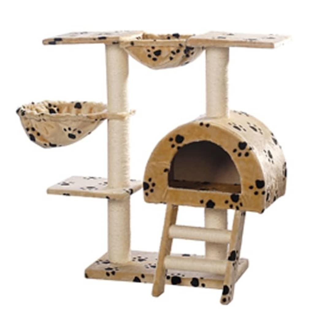 Kočičí škrabadlo / strom s pelíškem - 105 cm - béžové s otisky tlapek