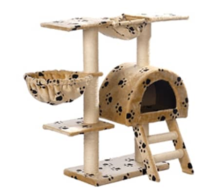 Cat Tree 105 cm Beige with Paw Prints 2 Scratching Posts[3/3]