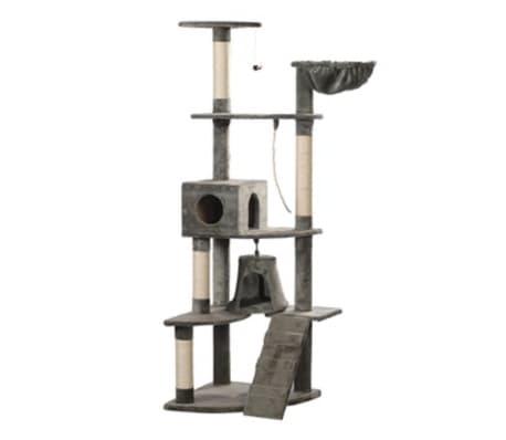 Casina ad albero per gatto 191 cm Peluche grigio[1/3]