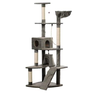 Casina ad albero per gatto 191 cm Peluche grigio[3/3]