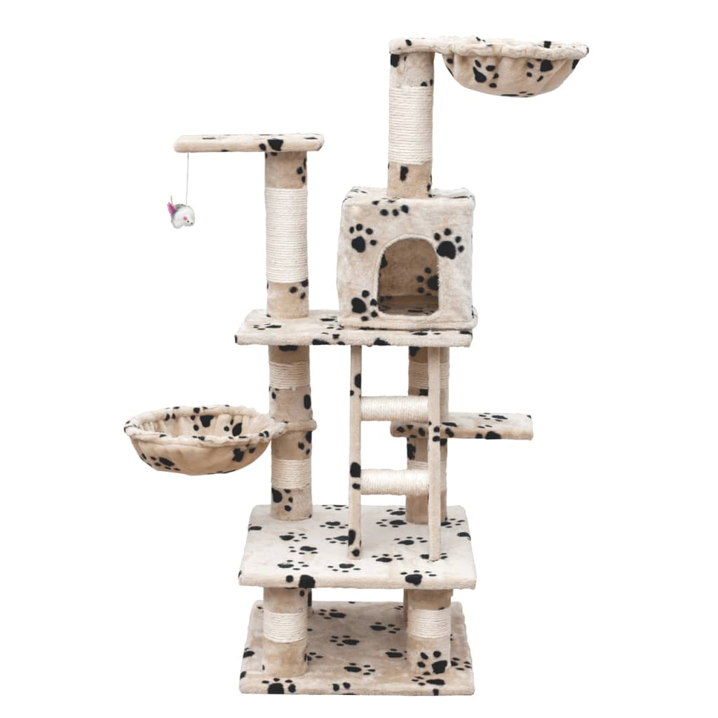Cat Tree 122 cm Beige with Paw