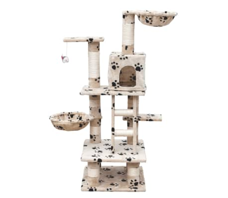Cat Play Tree 122 cm Beige with Paw Prints