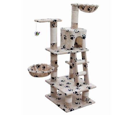 Ansamblu din sisal pentru pisici 122 cm pluș bej cu urme de lăbuțe[2/5]