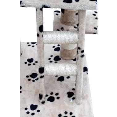 Ansamblu din sisal pentru pisici 122 cm pluș bej cu urme de lăbuțe[4/5]