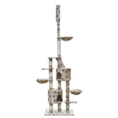 Cat Play Tree Cuddles XL 230 - 260 cm Beige with Paw Prints[1/5]