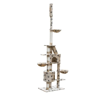 Cat Play Tree Cuddles XL 230 - 260 cm Beige with Paw Prints[2/5]