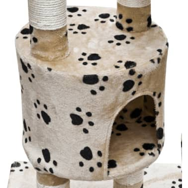 Cat Play Tree Cuddles XL 230 - 260 cm Beige with Paw Prints[3/5]