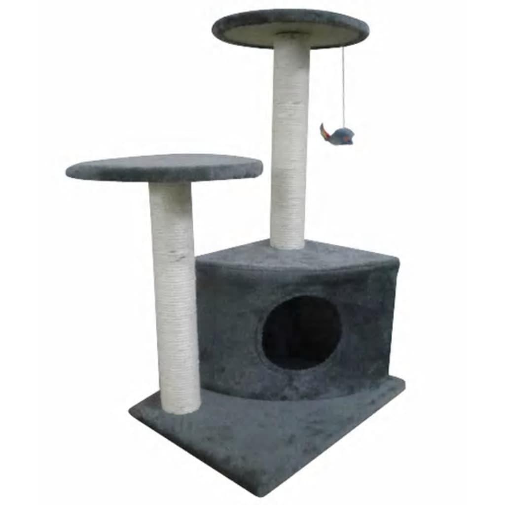 Kočičí škrabadlo / strom s pelíškem - 70 cm - šedý plyš