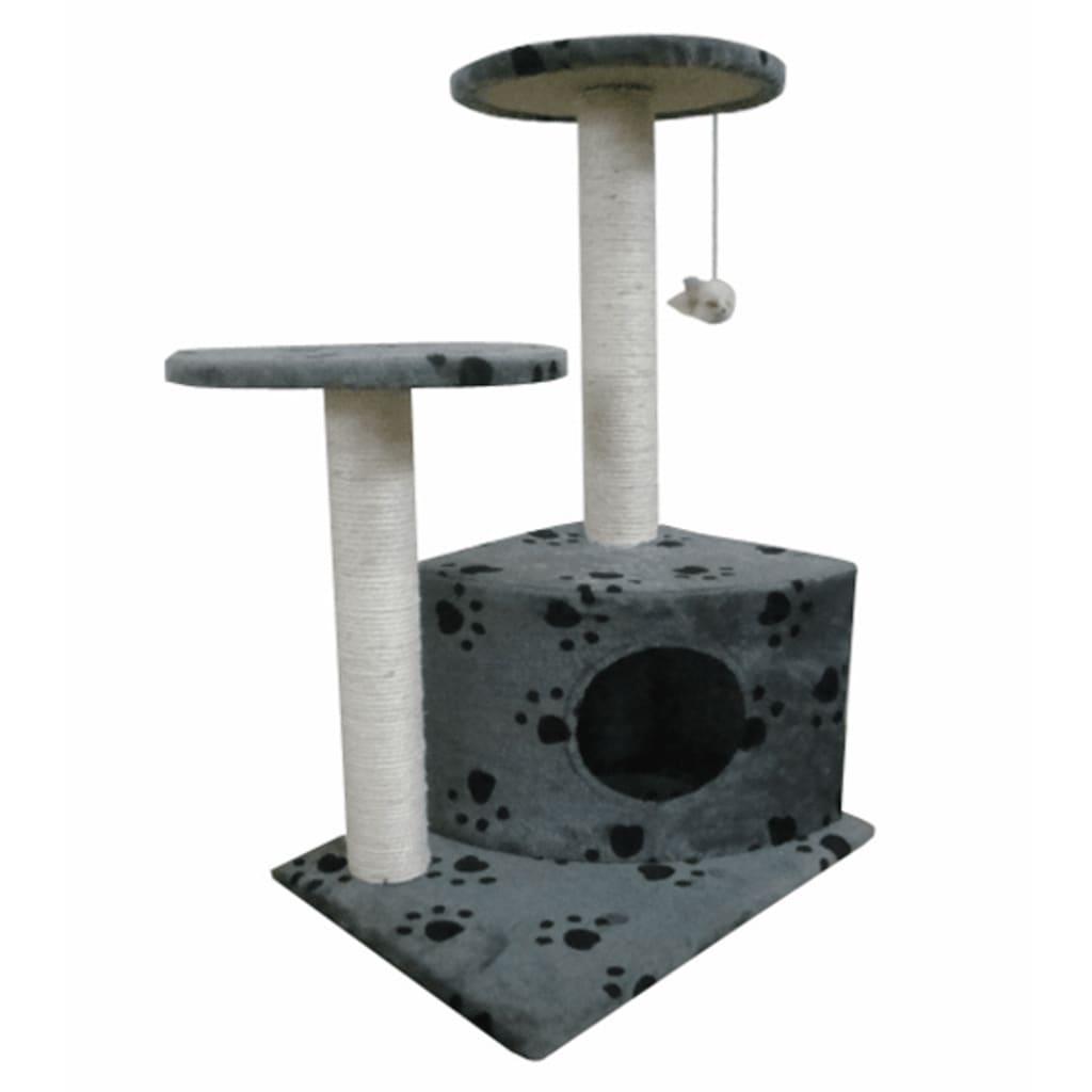 Kočičí škrabadlo / strom s pelíškem - 70 cm - šedé s otisky tlapek