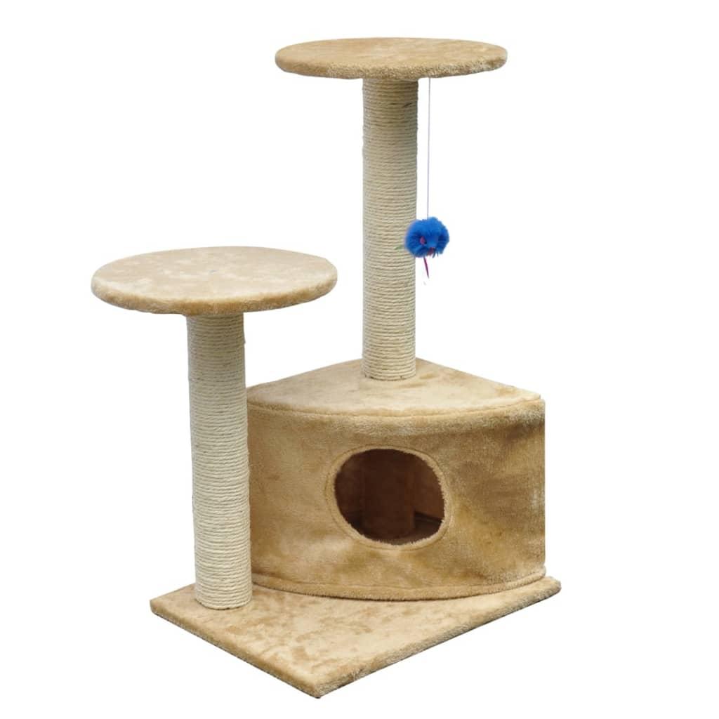 Kočičí škrabadlo / strom s pelíškem - 70 cm - béžový plyš