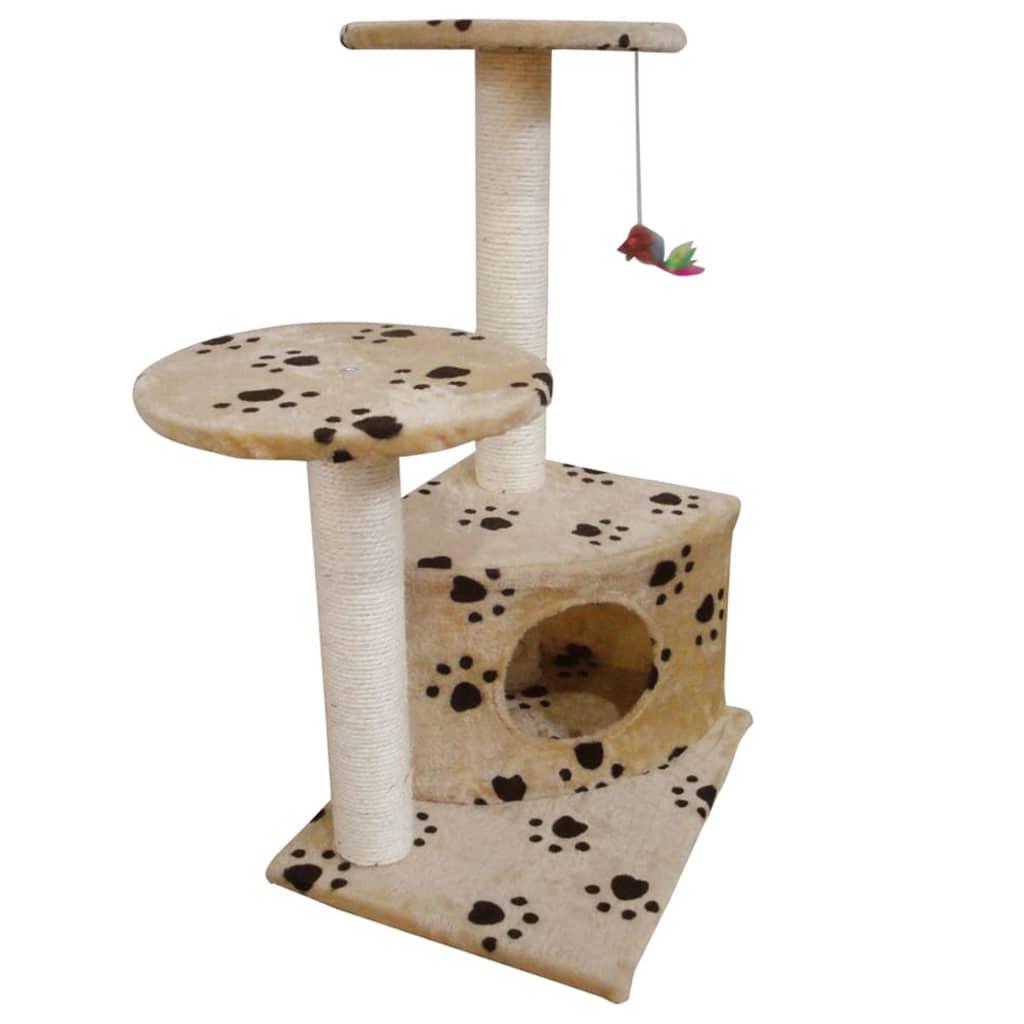 Kočičí škrabadlo / strom s pelíškem - 70 cm - béžový s otisky tlapek