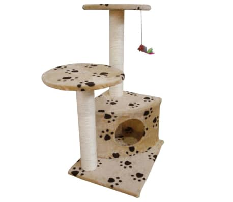 Scratching Cat Play Pole Beige with Paw Print[1/3]