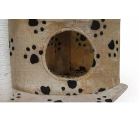 Scratching Cat Play Pole Beige with Paw Print[3/3]