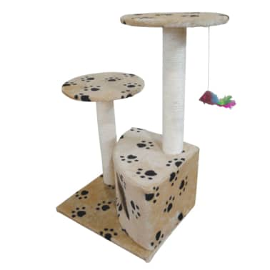 Scratching Cat Play Pole Beige with Paw Print[2/3]