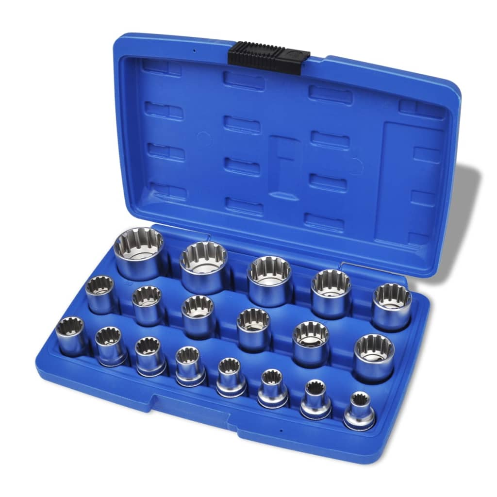 Set chei tubulare bihexagonale cu carcasă de depozitare, 19 piese imagine vidaxl.ro