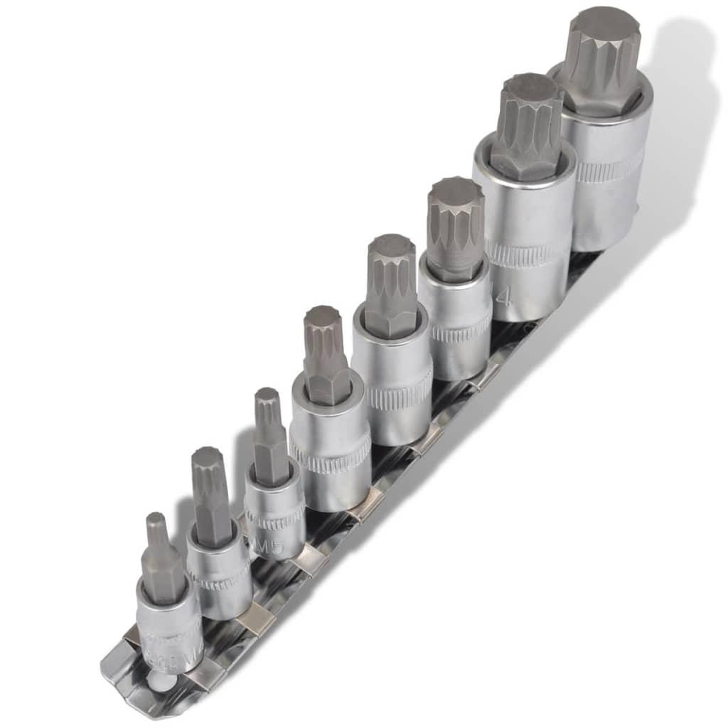 Set de chei tubulare cu capete în 12 puncte, pe șină, 8 piese vidaxl.ro