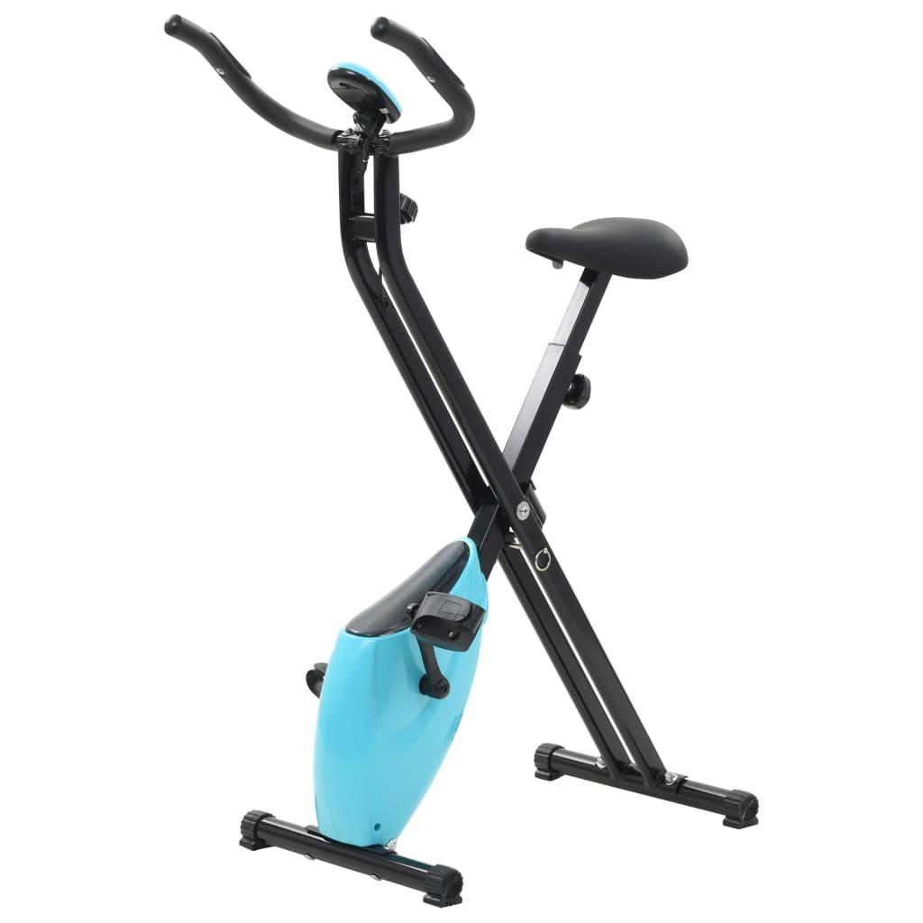 vidaXL Bicicleta X estática magnética com medição pulso preto e azul
