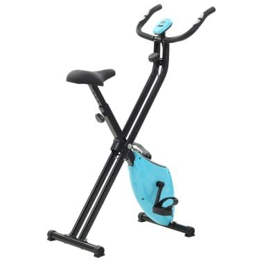 vidaXL Magnet. treniruok. dvir. su pulso mat., X rėm., juod. ir mėlyn.[4/10]